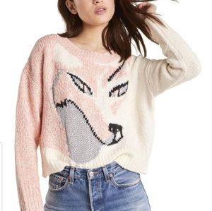 Wildfox Fox Knit Sable Sweater L Taupe Rose